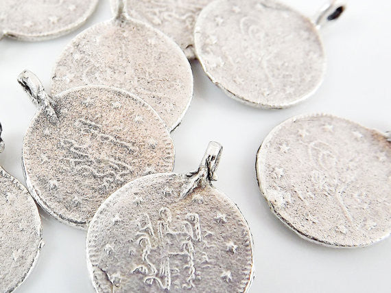 10 Large Round Coin Charms - Matte Silver Plated