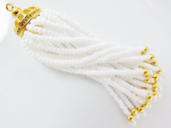 Long White Beaded Tassel - 22k Matte Gold Plated Brass - 1PC