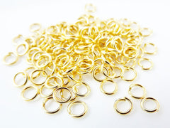 50 pcs - 4 mm Gold Plated Brass jumprings