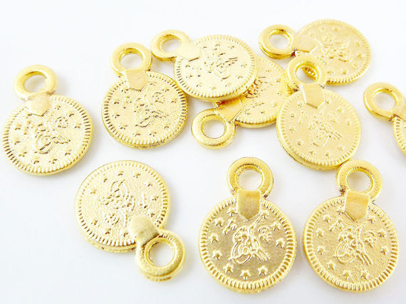 10 Mini Chunky Round Coin Charms - 22k Matte Gold Plated
