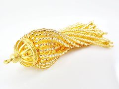 Long Golden Beaded Tassel - 22k Matte Gold Plated Brass - 1PC