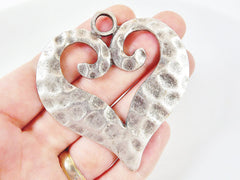 Large Hammered Heart Pendant - Matte Silver Plated - 1PC