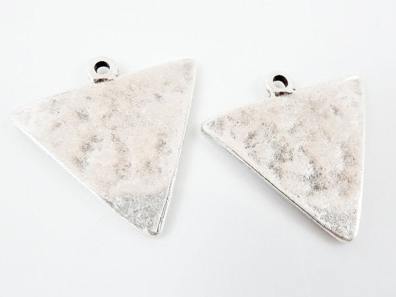2 Triangle Minimalist Geometric Pendants - Matte Antique Silver Plated