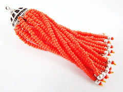 Long Opaque Orange Beaded Tassel - Matte Silver Plated Brass - 1PC