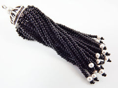 Long Black Beaded Tassel - Matte Silver Plated Brass - 1PC