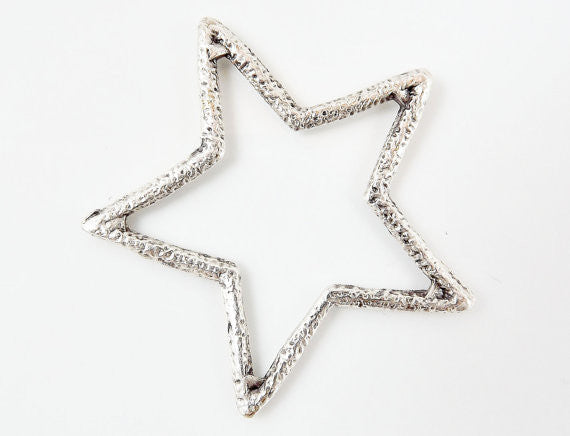 Silver Star Pendant - Matte Antique Silver Plated - 1PC