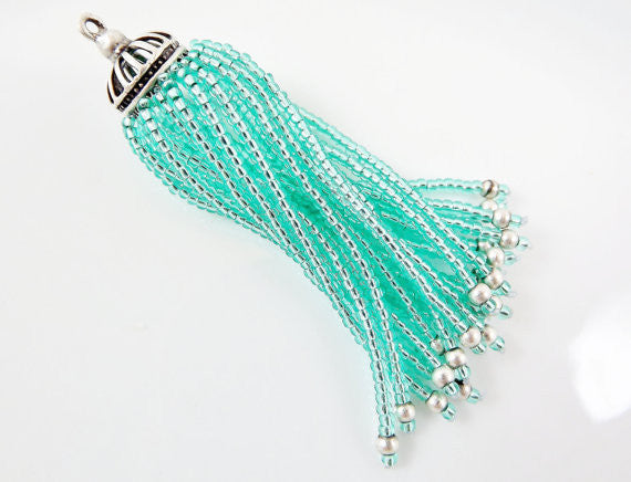 Long Aqua Beaded Tassel - Matte Silver Plated Brass - 1PC