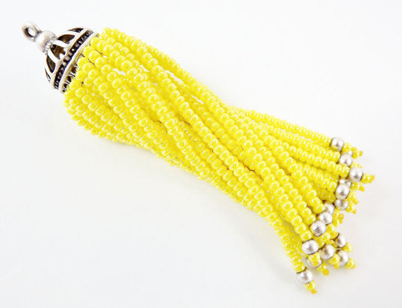 Long Yellow Beaded Tassel - Matte Silver Plated Brass - 1PC