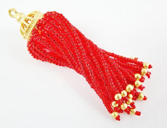 Long Fiery Red Beaded Tassel - 22k Matte Gold Plated Brass - 1PC