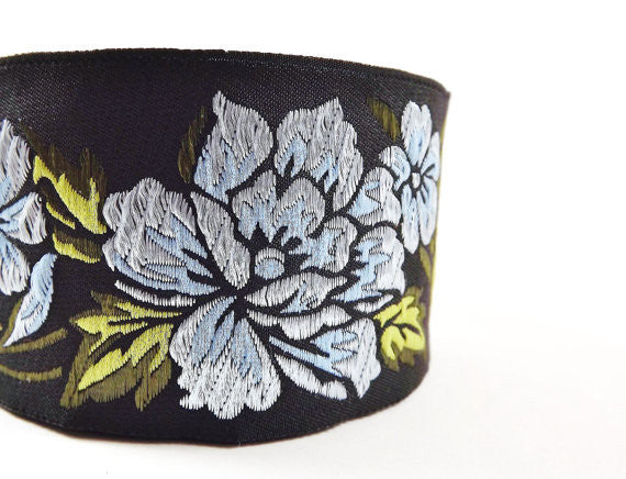 Pale Blue Peony Flower Woven Embroidered Jacquard Trim Ribbon - 1 Meter or 3.3 Feet or 1.09 Yards
