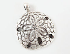 Sand Dollar Pendant Charm - Matte Antique Silver Plated - 1PC