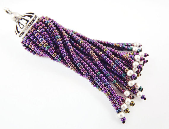 Long Purple Iris Beaded Tassel - Matte Silver Plated Brass - 1PC