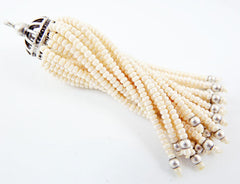 Long Pearly Cream Beaded Tassel - Matte Silver Plated Brass - 1PC