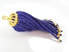 Long Navy Blue Beaded Tassel - 22k Matte Gold Plated Brass - 1PC