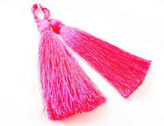 Long Bright Neon Pink Silk Thread Tassels - 3 inches - 77mm - 2 pc