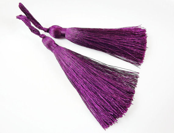Long Plum Purple Silk Thread Tassels - 3 inches - 77mm - 2 pc