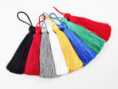 Extra Large Thick Deep Red Silk Thread Tassels - 4.4 inches - 113mm - 1 pc