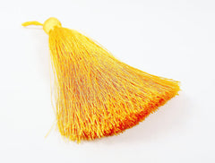 Extra Large Thick Sunshine Yellow Silk Thread Tassels - 4.4 inches - 113mm - 1 pc