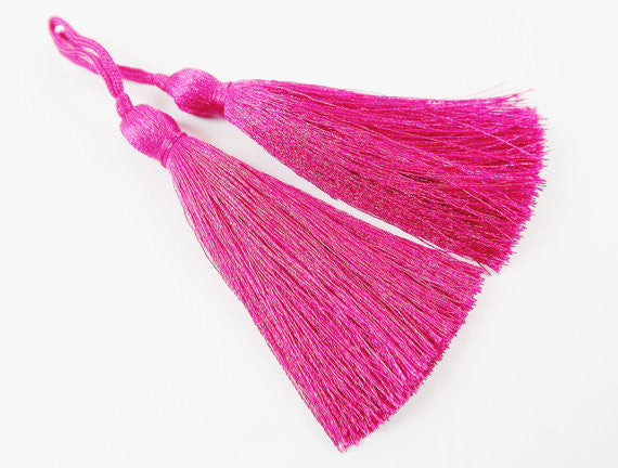 Long Violet Pink Silk Thread Tassels - 3 inches - 77mm - 2 pc