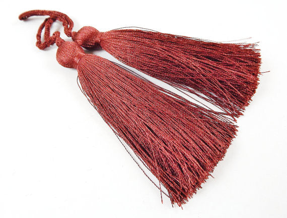 Long Brown Silk Thread Tassels - 3 inches - 77mm - 2 pc