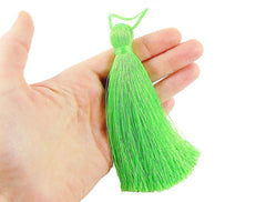 Extra Large Light Thick Neon Green Silk Thread Tassels - 4.4 inches - 113mm - 1 pc