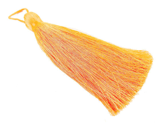 Extra Large Thick Neon Orange Silk Thread Tassels - 4.4 inches - 113mm - 1 pc