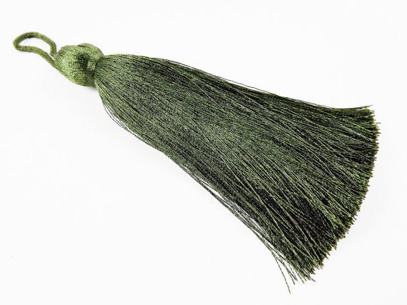 Extra Large Thick Khaki Silk Thread Tassels - 4.4 inches - 113mm - 1 pc
