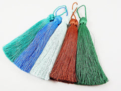 Extra Large Thick Pale Ice Aqua Silk Thread Tassels - 4.4 inches - 113mm - 1 pc