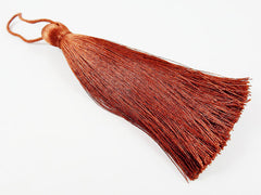 Extra Large Thick Brown Silk Thread Tassels - 4.4 inches - 113mm - 1 pc