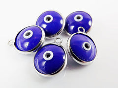 5 Opaque Navy Blue Evil Eye Nazar Artisan Glass Bead Charms - Silver Plated Brass Bezel
