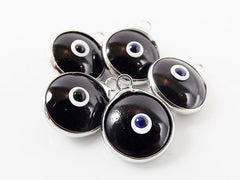 5 Opaque Black Evil Eye Nazar Artisan Glass Bead Charms - Silver Plated Brass Bezel