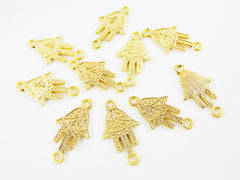10 Ornate Hamsa Hand of Fatima Charm Connectors - 22k Matte Gold Plated