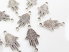 10 Ornate Hamsa Hand of Fatima Charm Connectors - Matte Silver Plated