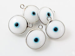5 White Evil Eye Nazar Artisan Glass Bead Charms - Silver Plated Brass Bezel