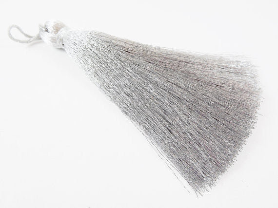 Extra Large Thick Soft Metallic Silver Silk Thread Tassels - 4.4 inches - 113mm - 1 pc