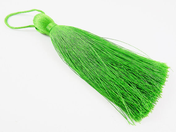 Extra Large Thick Forest Green Silk Thread Tassels - 4.4 inches - 113mm - 1 pc