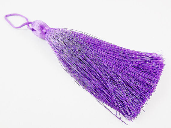 Extra Large Thick Purple Heart Silk Thread Tassels - 4.4 inches - 113mm - 1 pc