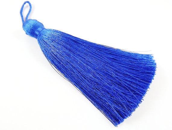 Extra Large Thick Royal Blue Thread Tassels - 4.4 inches - 113mm - 1 pc