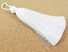 Extra Large Thick White Thread Tassels - 4.4 inches - 113mm - 1 pc
