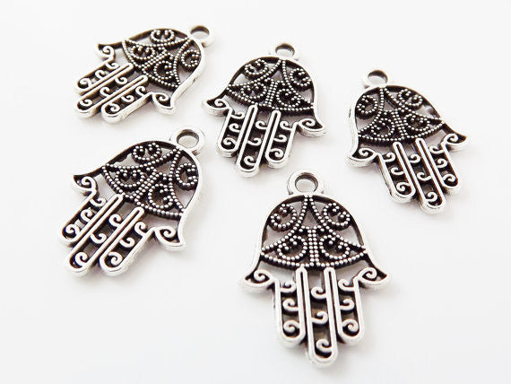 5 Small Filigree Hand of Fatima Hamsa Pendant Charms - Matte Silver Plated