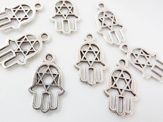 8 Medium Hamsa Hand of Fatima Charms Star of David - Matte Silver Plated