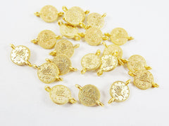 20 Mini Round Coin Charm Connectors - 22k Matte Gold Plated