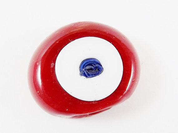 Cranberry Red Evil Eye Nazar Glass Bead - Traditional Turkish Handmade - 27 mm