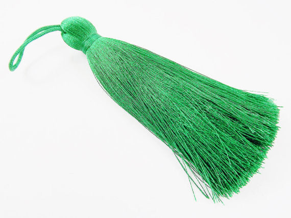 Extra Large Thick Emerald Green Thread Tassels - 4.4 inches - 113mm - 1 pc