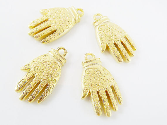 4 Hand of Fatima Hamsa Pendant Charms with Floral Detail - 22k Matte Gold Plated