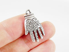 4 Hand of Fatima Hamsa Pendant Charms with Floral Detail - Matte Silver Plated