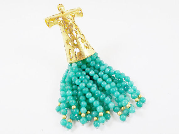 Large Aqua Turkish Caftan Tassel Pendant - Jade Stone - 22k Matte Gold Plated - 1PC