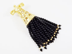 Large Black Turkish Caftan Tassel Pendant - Onyx Stone - 22k Matte Gold Plated - 1PC