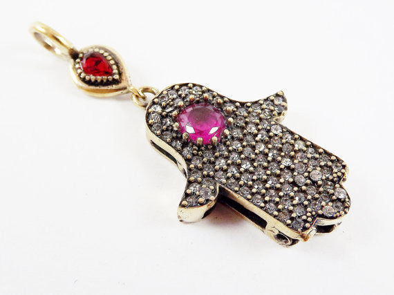 Hamsa Hand of Fatima Pendant Red Ruby Clear Crystal Accents