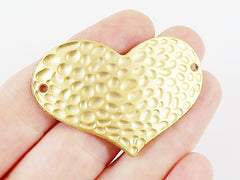 Hammered Heart Pendant Connector - 22k Matte Gold Plated - 1PC